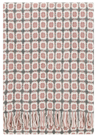 Grey and pale pink blanket throw
