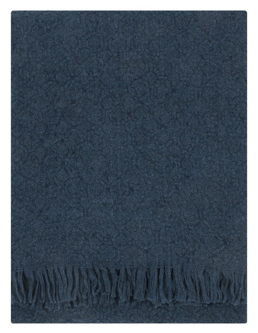 Storm Blue Textured Wool Blanket