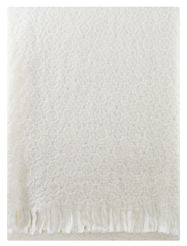 white textured woven white blanket scandinvian