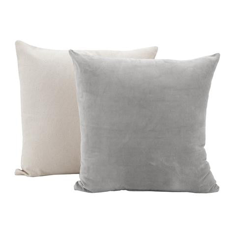 Powder Grey Velvet Cushion with Linen Back