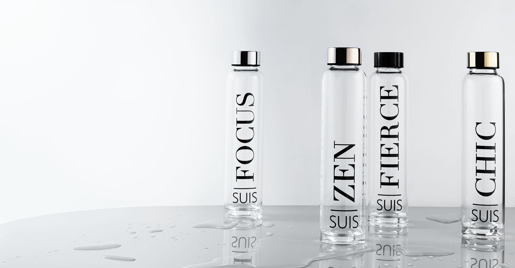 SUIS Glass Water Bottle The Complete Package Fierce Chic Zen Focus