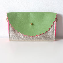 Green & Champagne Silver Dora Jewell Bag with Neon Pink Edges