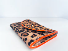Absolute Leopard 'Dora' Purse with fluorescent Orange Edges