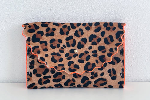 Absolute Leopard 'Dora' Purse with Neon Orange Edges