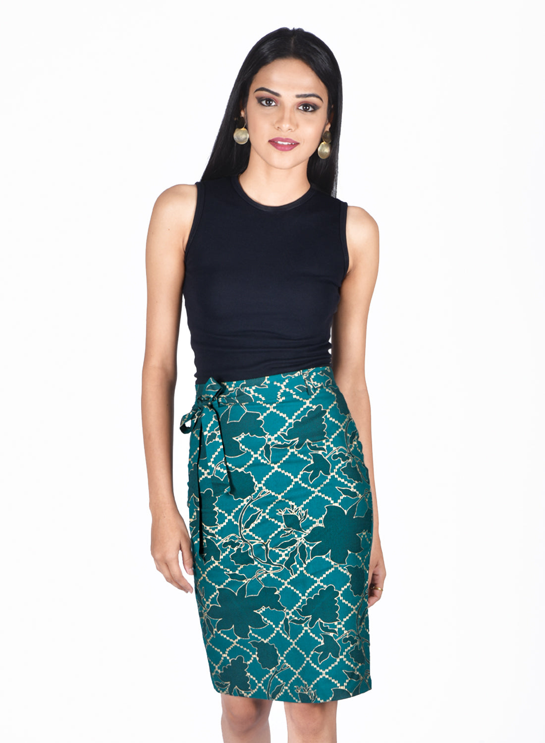 Gold Printed Pencil Skirt