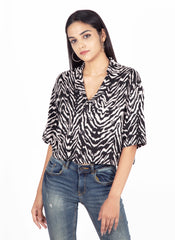 Animal Print Crop Shirt