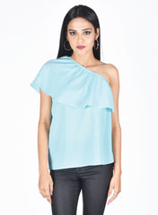 Light Blue Off Shoulder Top