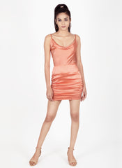 Satin Peach Dress