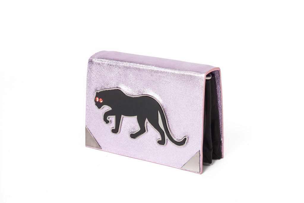 benedetta bruzziches book clutch panther pink side