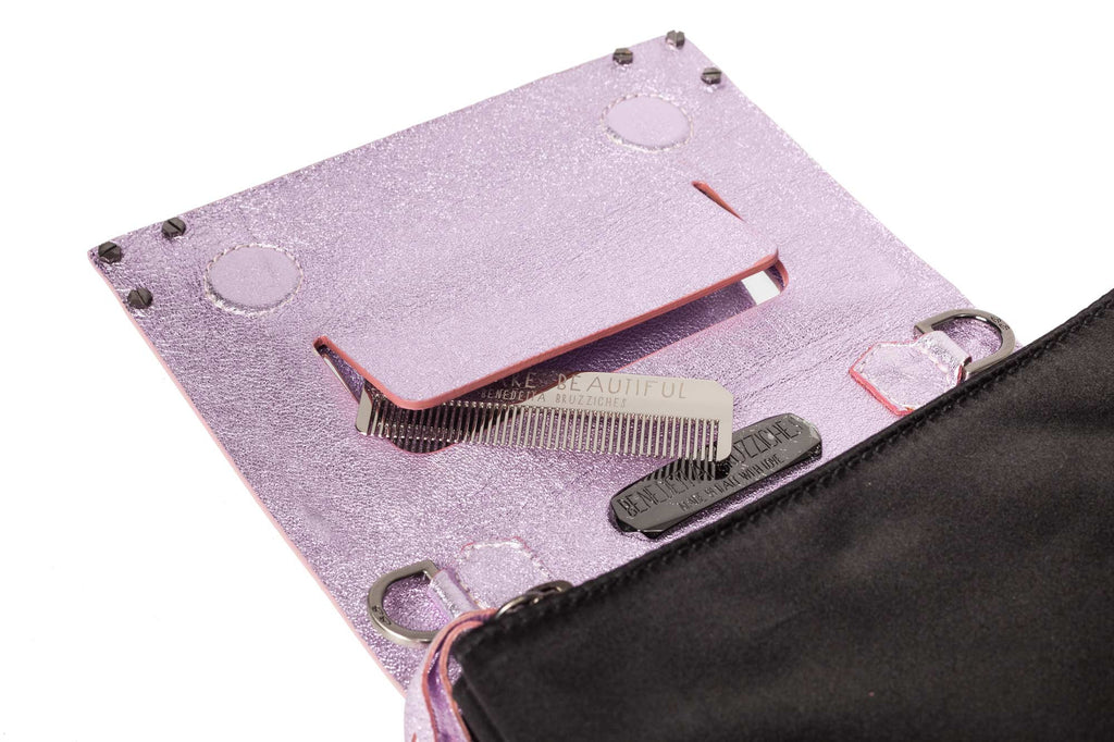 Benedetta Bruzziches book clutch panther pink side and interior