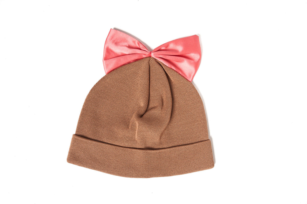 Federica Moretti Brown Beanie with Bow silk
