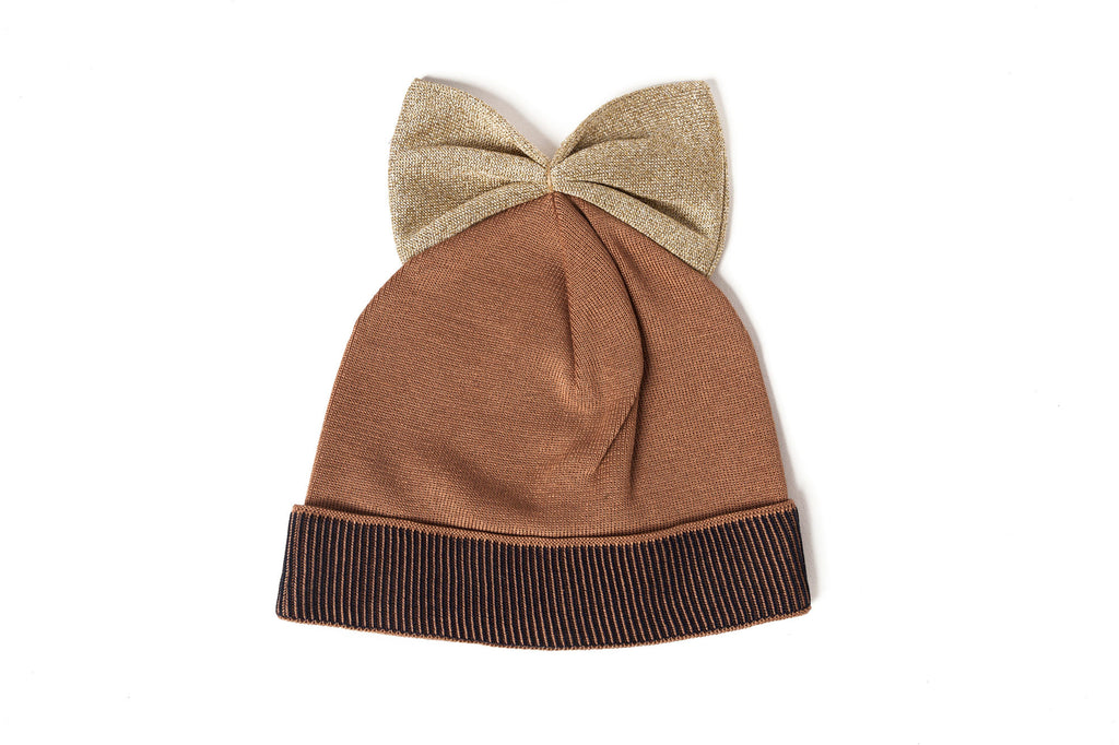 Federica Moretti Brown Beanie with bow Lurex