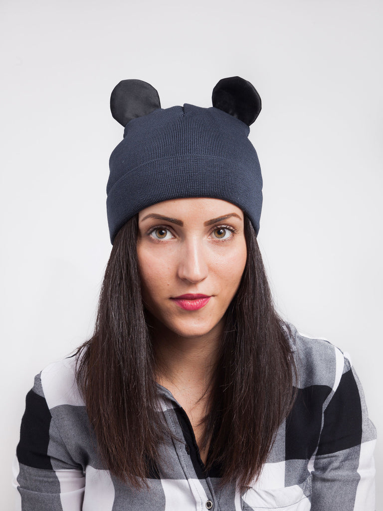Federica Moretti Black Beanie with silk Ears