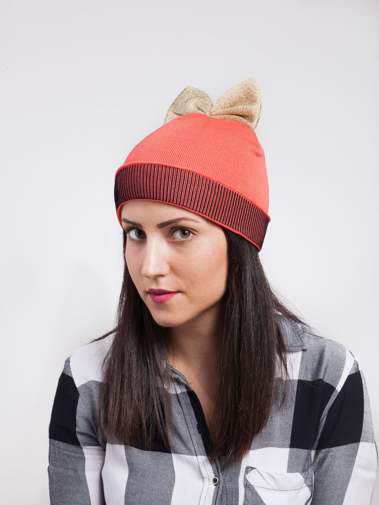 Federica Moretti Red Beanie with bow Lurex