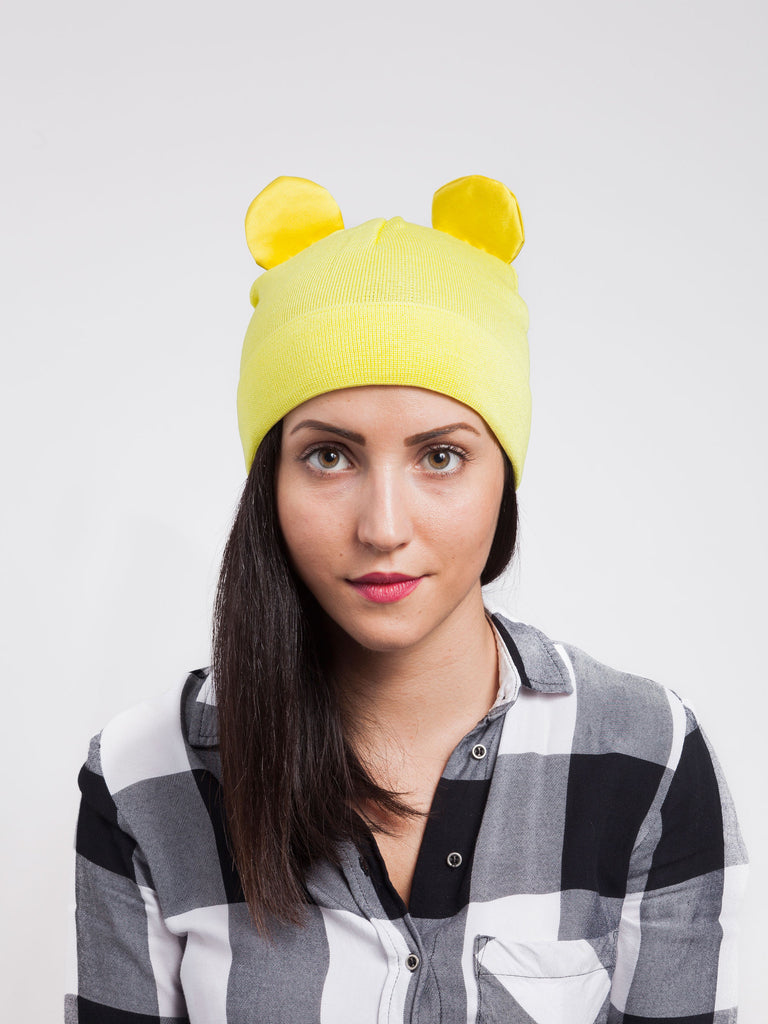 Federica Moretti Yellow Beanie with silk Ears