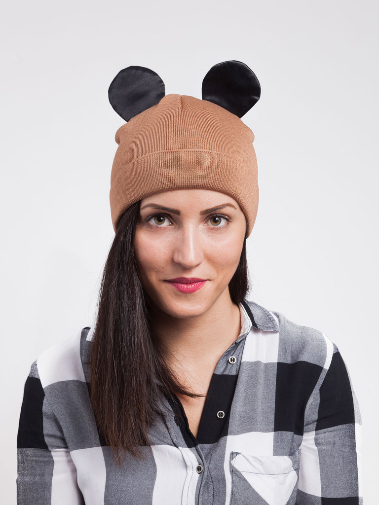 Federica Moretti Brown Beanie with silk Ears collection