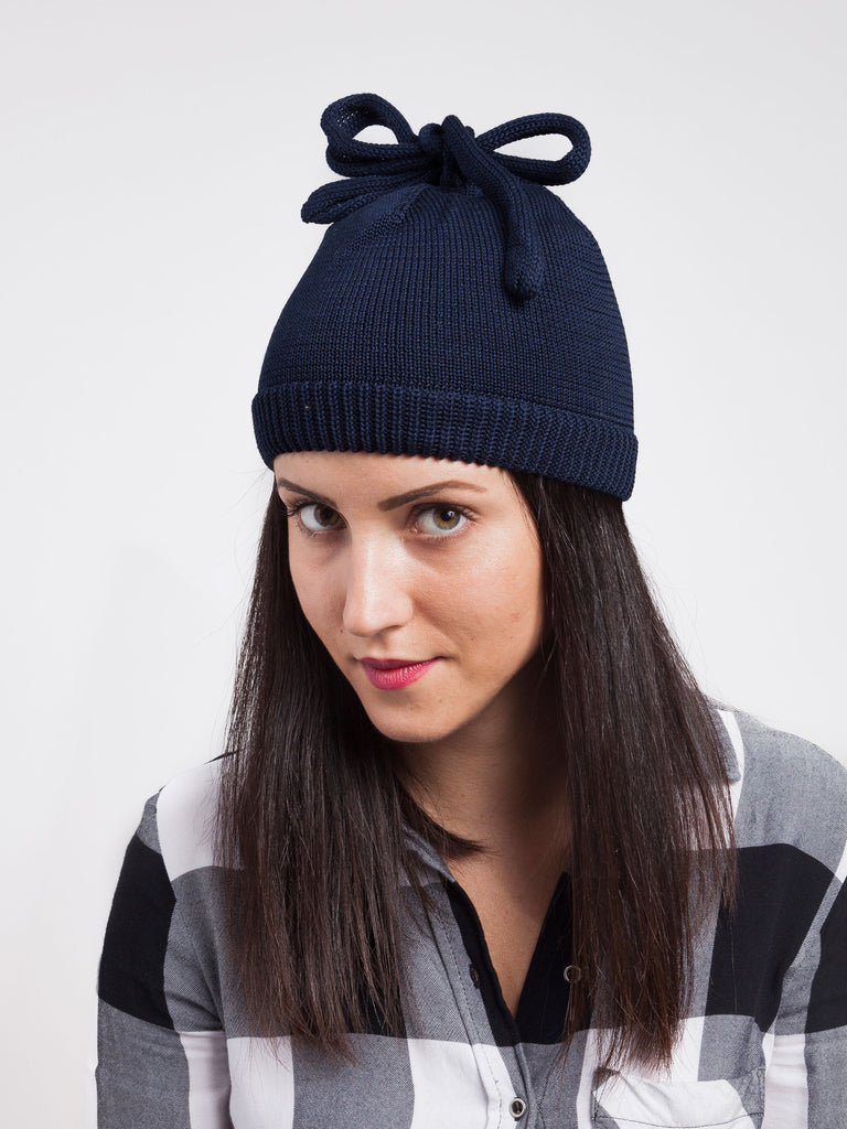 Federica Moretti Black Beanie with Lace collection