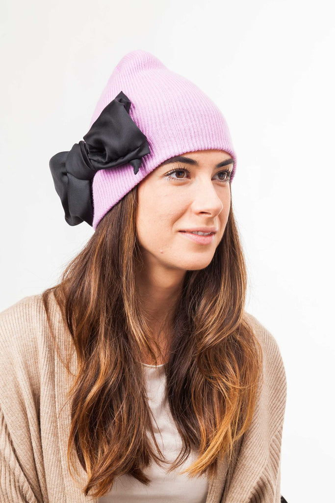 leontine vintage bow beanie pink and black side