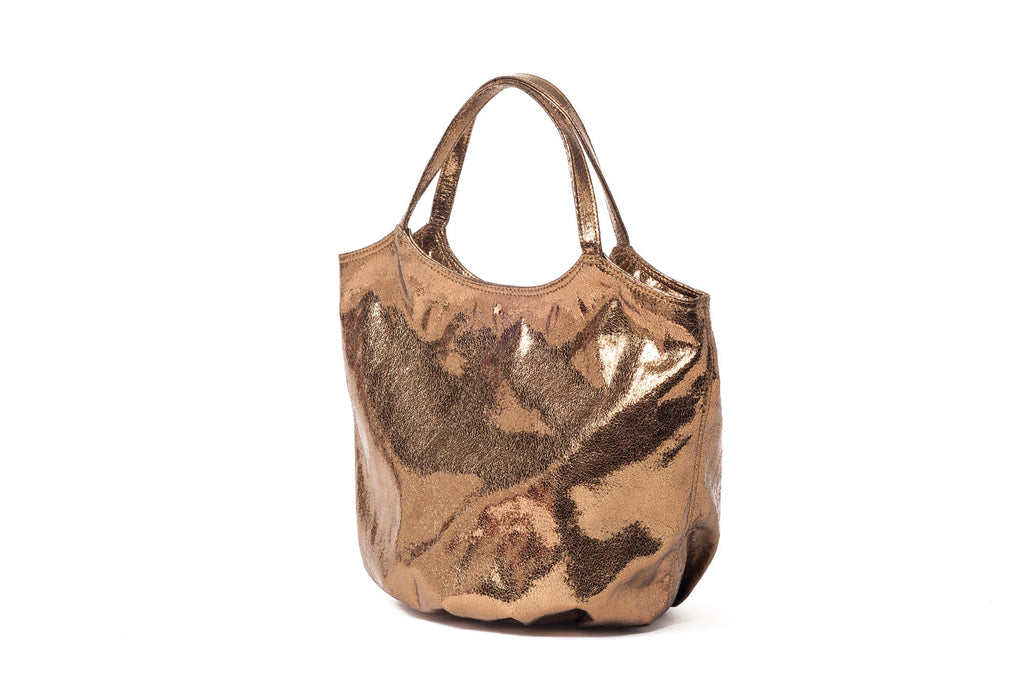 L'Aura Armando bronzed bag side