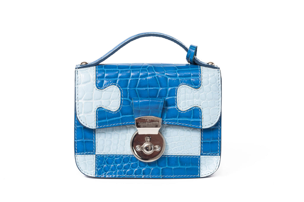azzurra gronchi Elaisa blue and white front with handle