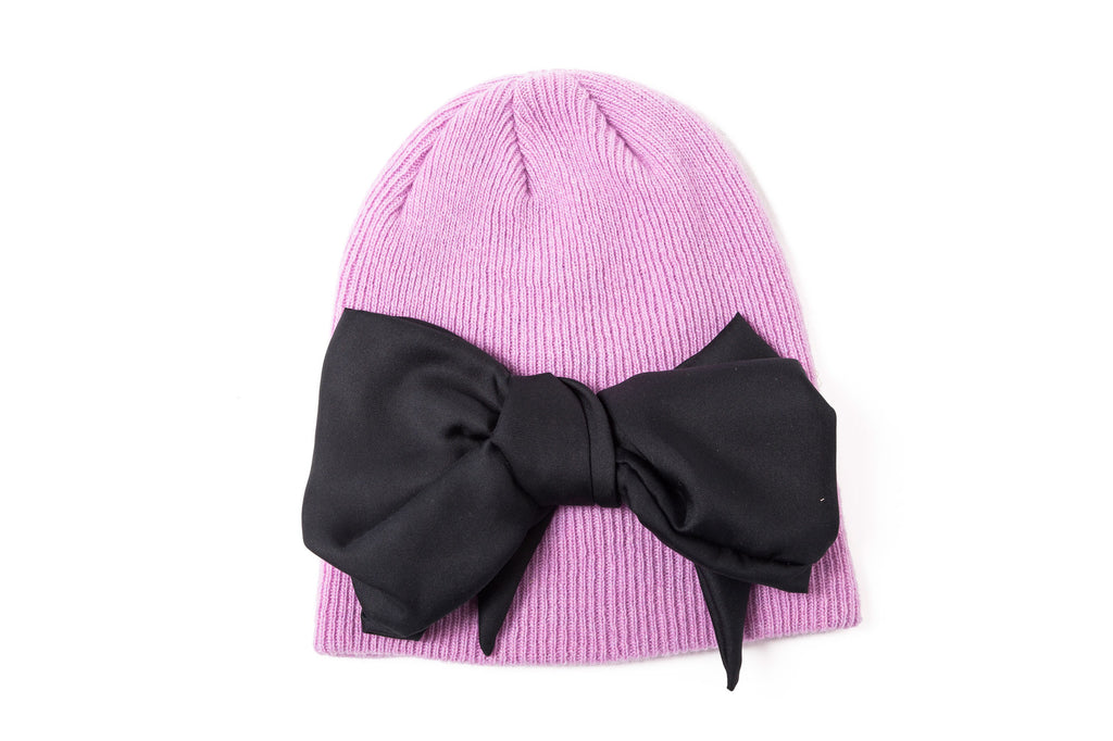 leontine vintage bow beanie pink and black
