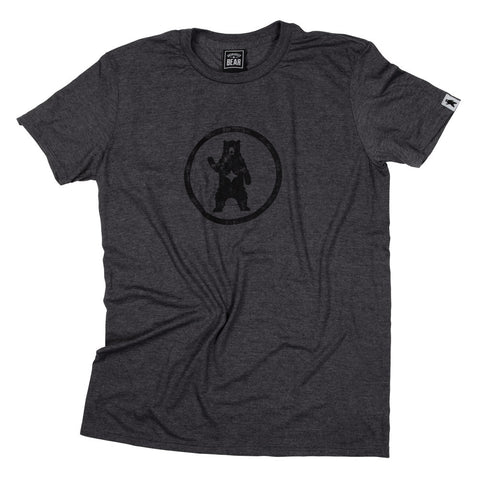Urban Grey Distressed Circle Bear Logo T-Shirt