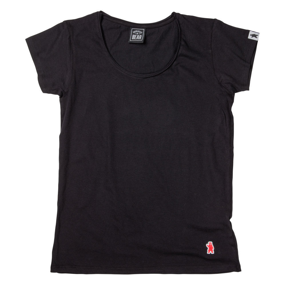 Women's Beech Raw Edge Black Cotton T-Shirt