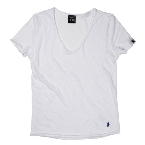 The Beech Raw Edge White T-Shirt