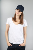 The Maple Panelled White Cotton Slub T-Shirt