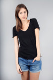 The Maple Panelled Black Cotton Slub T-Shirt