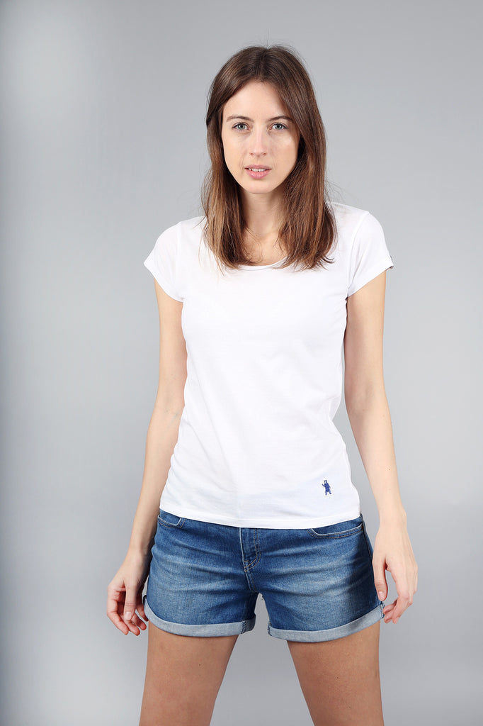 The Beech Raw Edge White Cotton T-Shirt