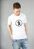 White Distressed Circle Bear Logo Organic Cotton T-Shirt