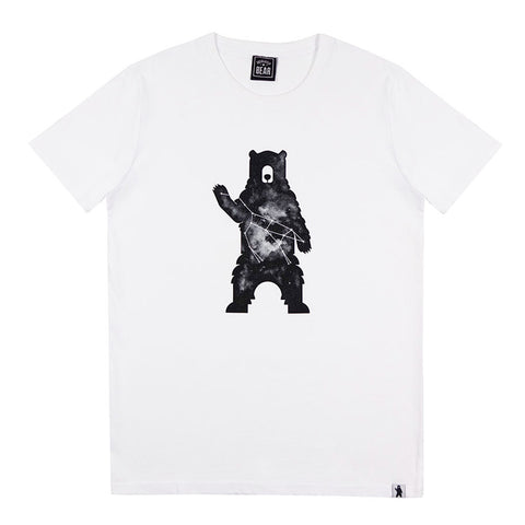 White Distressed Circle Bear Logo T-Shirt