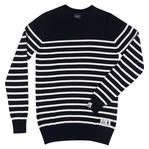100% Merino Wool Navy Moss Stitch Jumper