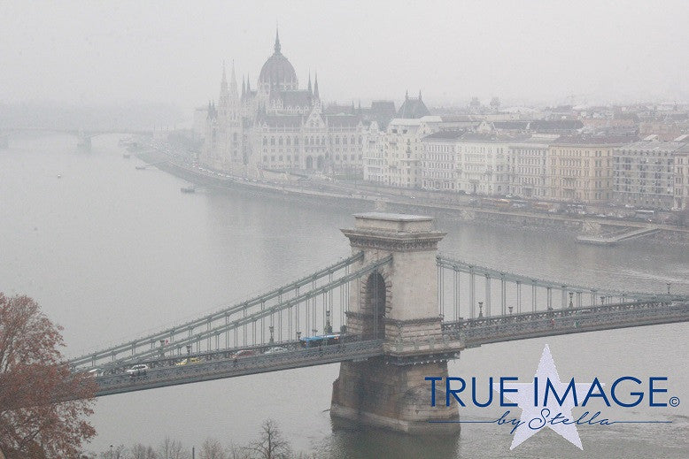 Széchenyi Chain Bridge and Hungarian Parliament Building in the fog - Budapest, Hungary