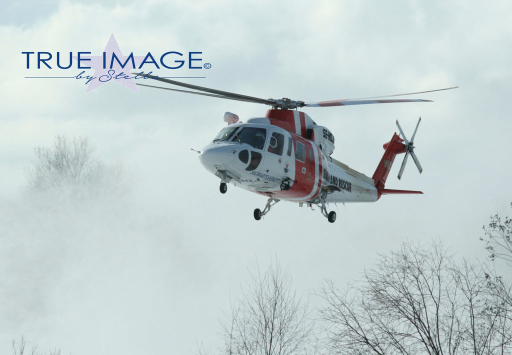 Rescue Helicopter landing on snow - Norrtälje, Sweden
