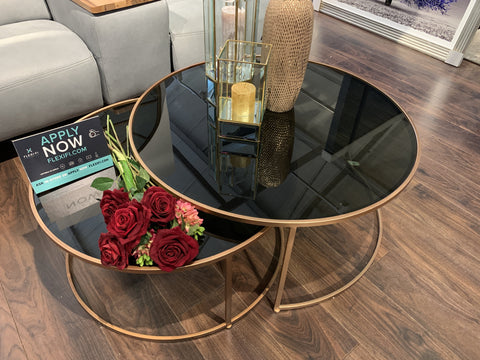 RAMON SET OF COFFEE TABLES . BLACK AND COPPER LOOK