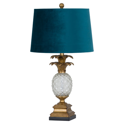 Pineapple table lamp with teal  shade  71 cm