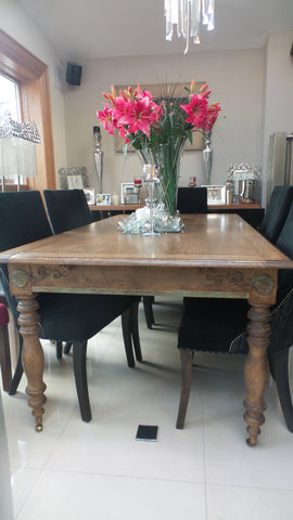 Antiqued Oak French Dining Table for a fit for a mansion dining room recycled