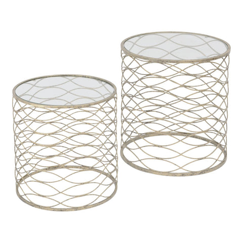Gatsby nest of 2 side  tables  in a gorgeous gently gold colour  Click N Collect