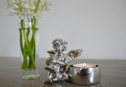 Cherub tealight holders silver click n collect