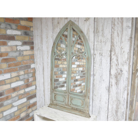 Gothic rustic window mirror with arch