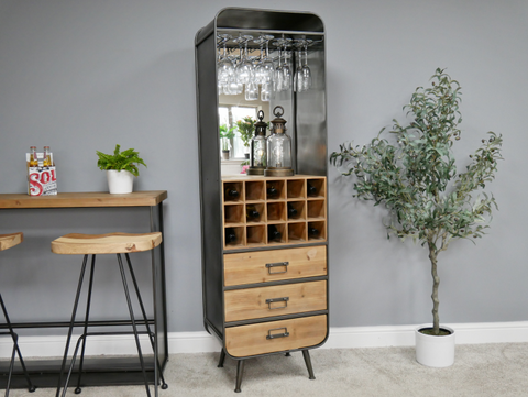 Retro metal wine cabinet with mirrored back panel