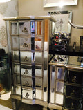 Venetian mirrored  tallboy  chest 6 drawer