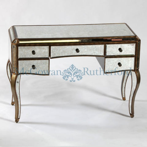 Antiqued glass console dressing table with gold trim