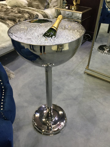Stainless steel wine cooler on stand