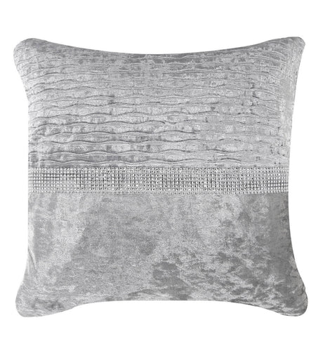 Silver  Crushed Velvet Diamante Silver Stripe Cushion 551
