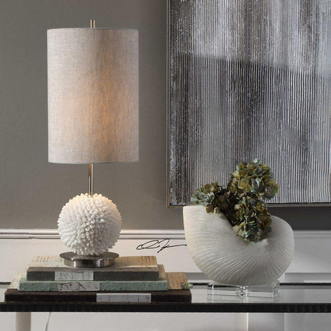 Cascara shell table lamp with shade