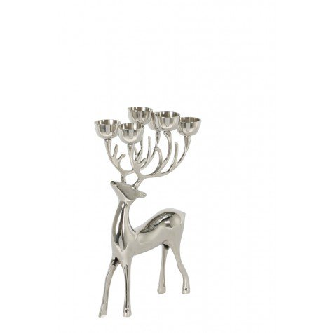 TEA LIGHT HOLDER 6L 17X11,5X34,5 CM DEER NICKEL