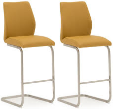 Irma Contemporary Bar Chairs Bar Stools With Brushed Steel Frame